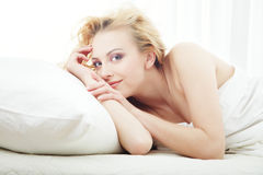 Morning pleasure in the bedroom Stock Photos