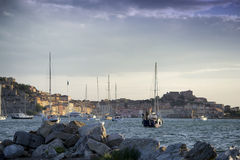 Morning in portoferraio bay. In the morning in the bay when life begins Stock Image