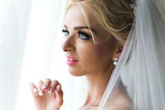Morning portrait of beautiful bride Royalty Free Stock Photos