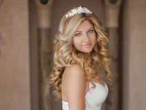 Morning Portrait of beautiful bride. Wedding dress. Wedding deco Stock Photography