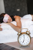 Morning portrait of beautiful woman sleeping in bed Stock Photos