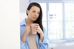Morning portrait of beautiful young woman Royalty Free Stock Image