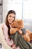 Morning portrait of laughing woman Royalty Free Stock Images