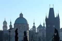 Morning Prague gothic Charles Bridge, Czech Republic Royalty Free Stock Photo