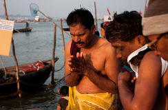 Morning pray by hindu men Stock Photo