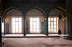 Morning prayer in the Blue Mosque in Istanbul. Stock Photos