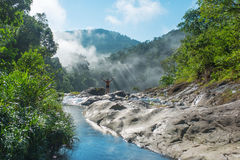 Morning prayer of the lonely wanderer in the mountains  Vietnam. Stock Images