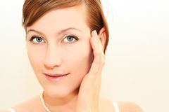 Morning pretty woman face. Close up of a smiling woman Royalty Free Stock Photography