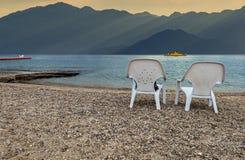 Morning at a public beach Eilat Royalty Free Stock Photo