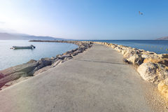 Morning at public stone walking pier in Eilat Royalty Free Stock Photos