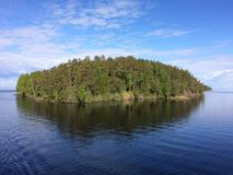 Morning on a ship on the purest lake Ladoga. royalty free stock photos