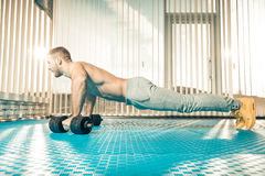 Morning push-ups stock images