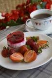 Morning raspberry dessert on flower background Royalty Free Stock Photography