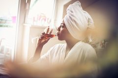 Morning with red wine. royalty free stock photos