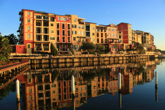 Morning reflection of European style resort buildings royalty free stock photos