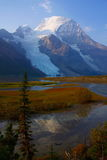 Morning Reflection of Mount Robson, Mount Robson Provincial Park. Berg and Mist Glaciers still reach down from Mount Robson, the highest peak in the Canadian Royalty Free Stock Image
