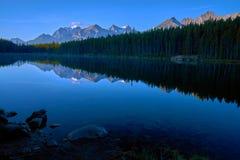 Morning reflections, herbert lake royalty free stock photo