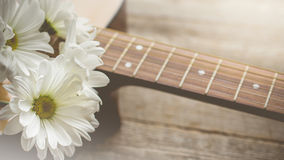 Morning relaxation and cozy with white daisy on guitar for Rural. Vacation lifestyle , music therapy concept Stock Photography