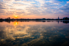 Morning on reservoir. Warm morning sun on the reservoir Royalty Free Stock Image