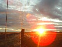 Morning ride central Oregon sun stock photo