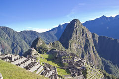 Morning rising over Machu Picchu. Morning rising over the Inca citadel of Machu Picchu, Peru royalty free stock photo