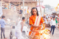 Morning ritual, Dashaswamedh Ghat Stock Images