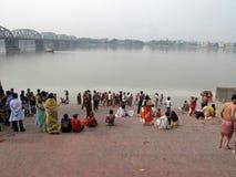 Morning ritual on the Hoogly river in Kolkata Stock Photos
