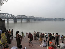 Morning ritual on the Hoogly river in Kolkata Royalty Free Stock Photo