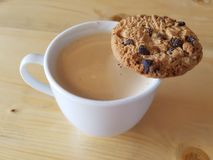 White Blank Espresso Coffee Cup And Chocolate Chips Cookie Royalty Free Stock Photos