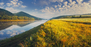 Morning on the river. The misty morning on the Dnister river Stock Photos