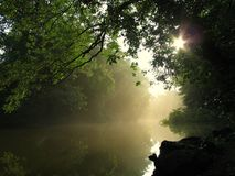 Morning on the River. Sunrise and mist rising on the river Royalty Free Stock Photo
