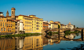 Morning. At The River Arno in Florence Royalty Free Stock Photography