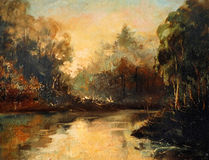 Morning on the river,  landscape a water colour. Illustration Stock Photo
