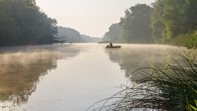Morning on the river. Morning mist on the river covered Stock Photo
