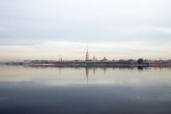 Morning on the river. View of the Peter and Paul fortress. Spring. Saint-Petersburg. Russia. Royalty Free Stock Photo