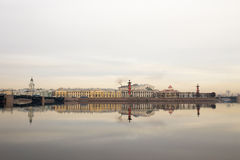 Morning on the river. View of the Vasilievsky island. Spring. Saint-Petersburg. Russia. Stock Images