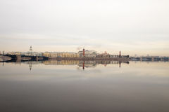 Morning on the river. View of the Vasilievsky island. Spring. Saint-Petersburg. Russia. Royalty Free Stock Images