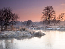 Morning river. Winter morning river in Poland Royalty Free Stock Photos