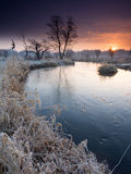 Morning river. Winter morning river and sunrise in Poland Stock Photos