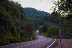 Morning winding road with yellow stripe in rainforest. Jungles it the dawn. Morning road with the car in rainforest. Morning winding road with yellow stripe in stock photos