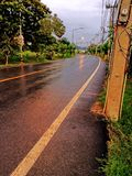 Morning road , water drop , thailand , ayutthaya Royalty Free Stock Photo