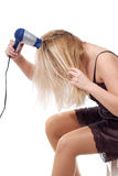 Morning Routine with Hair Dryer Royalty Free Stock Images