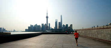 Morning run in Shanghai Royalty Free Stock Image