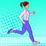 Sport girl jogging pop art retro raster illustration. Comic book style imitation. In sports clothes with headphones and royalty free illustration
