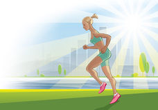 Morning run on the urban landscape. Illustration on the theme of healthy lifestyles.  100% vector image. Fully editable Stock Photography