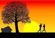 Morning running. Toughen body, at morning of, under the sunlight stock illustration