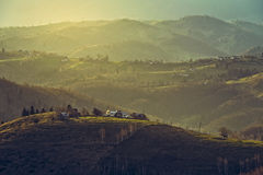 Morning rural scenery, Sirnea village, Romania Royalty Free Stock Images