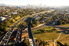 Morning rush hour from above in Brisbane. Coming from Gold Coast Stock Image