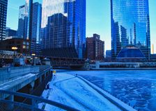 Morning rush hour on a frigid, blue winter morning in Chicago. Morning rush hour on a frigid, blue winter morning in Chicago Loop stock photography