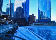 Morning rush hour on a frigid, blue winter morning in Chicago. Morning rush hour on a frigid, blue winter morning in Chicago Loop stock images